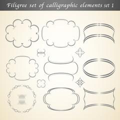 Filigree set of calligraphic elements embellish vintage design s