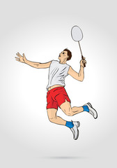 A Professional Badminton Player Jumping