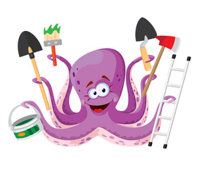 octopus with instruments