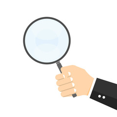 Hand holding Magnifier. Find concept Vector
