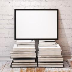 mock up poster frame on pile of books in loft interior