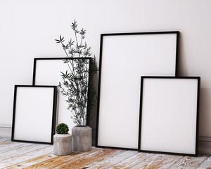 mock up poster frames in hipster loft interior