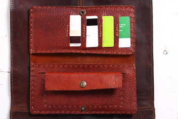 Leather wallet, inside, with bank cards