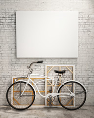 mock up poster in loft interior with bicycle, background