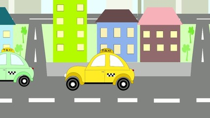 Cars taxi rides around town, animation, cartoon