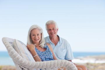 Senior couple on patio
