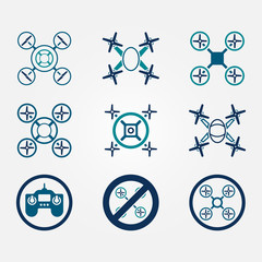 Quadrocopter vector flat icons set