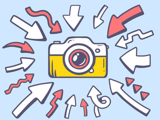 Vector illustration of arrows point to icon of photo camera on g