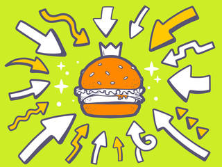 Vector illustration of arrows point to icon of big burger with c