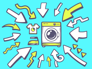 Vector illustration of arrows point to icon of washing machine o