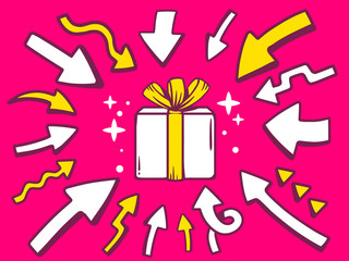 Vector illustration of arrows point to icon of gift box on pink