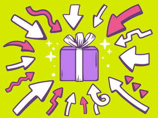 Vector illustration of arrows point to icon of gift box on green