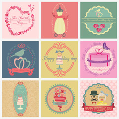 Set of vintage wedding and wedding fashion style logos. Vector l
