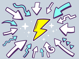 Vector illustration of arrows point to icon of lightning on gray