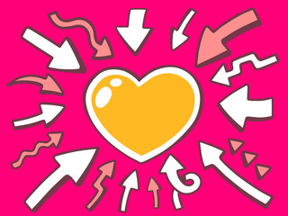 Vector illustration of arrows point to icon of heart on pink bac