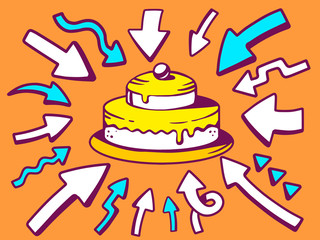 Vector illustration of arrows point to icon of home cake on oran