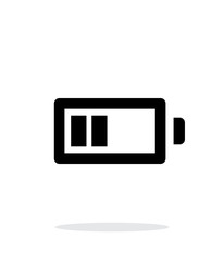 Half charge battery simple icon on white background.