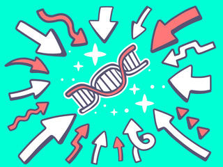 Vector illustration of arrows point to icon of dna molecule chai