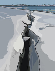 crack in the ice, ice drift on the river