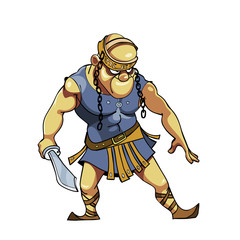 cartoon warrior with a sword in Viking clothes