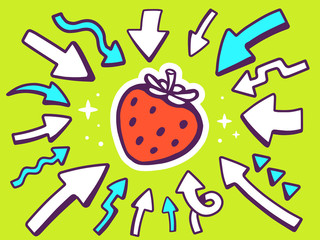 Vector illustration of arrows point to icon of  red strawberry o