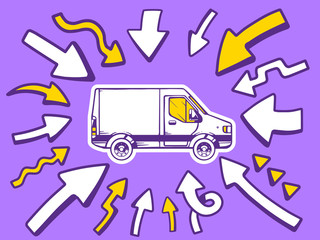 Vector illustration of arrows point to icon of  van on purple ba
