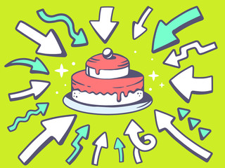 Vector illustration of arrows point to icon of  home cake on gre