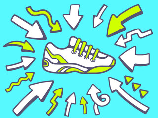 Vector illustration of arrows point to icon of  sneaker on blue