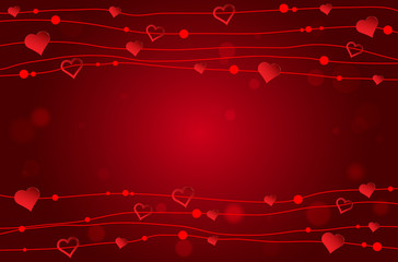 Valentines card with abstract red hearts