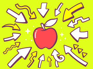 Vector illustration of arrows point to icon of  red apple on gre