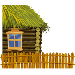 Wooden house with thatched roof and wooden fence
