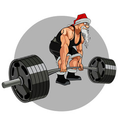 Santa Claus athlete with a barbell