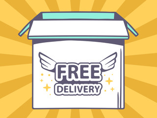 Vector illustration of open box with icon of  free delivery on o