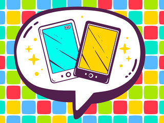 Vector illustration of speech bubble with icon of phones on colo