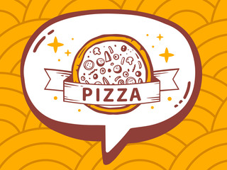 Vector illustration of speech bubble with icon of pizza on yello