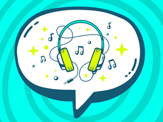 Vector illustration of speech bubble with icon of headphones on