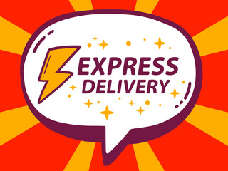 Vector illustration of speech bubble with icon of express delive