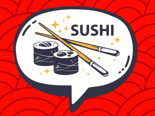 Vector illustration of speech bubble with icon of sushi on red p