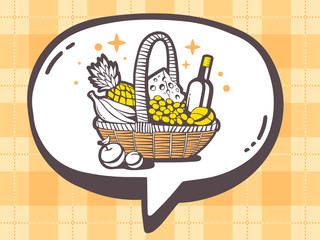 Vector illustration of speech bubble with icon of basket with fo