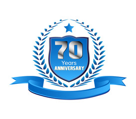 Vintage 70 years anniversary message emblem