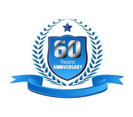 Vintage 60 years anniversary message emblem