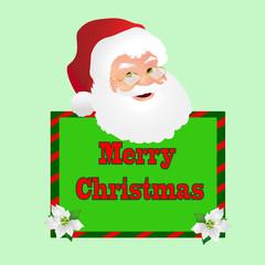 Santa Face Over a Green Merry Christmas Sign