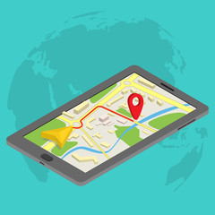 Flat 3d isometric mobile GPS navigation maps infographic concept