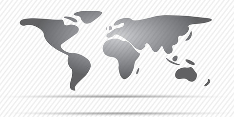 World Map freehand continents gray color