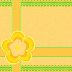 Blume auf Herzbordüre mit zickzack Kante auf orange mit Punkten