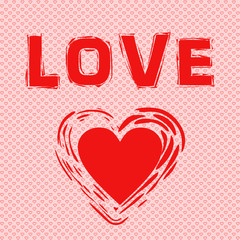 Schriftzug Love, Herz in rot auf Hintergrund mit kleinen Herzen