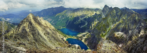 Panoramic view of the mountain peaks of the Tatra mountains