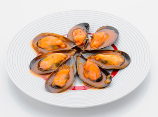 Star mussel sauce on plate