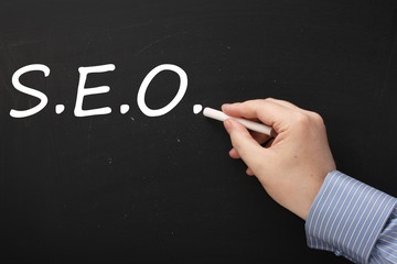 SEO or Search Engine Optimization on a blackboard