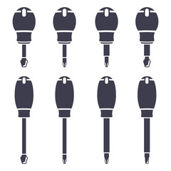 Set icons of screwdrivers